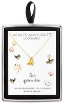 """Venice & Violet Women's Venice and Violet by Dogeared """"The Queen Bee"""" Teeny Bee Necklace Plated in 14K Gold - Gold (18"""" + 2"""")"""