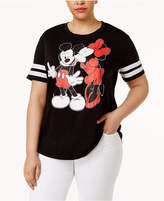 Hybrid Trendy Plus Size Mickey and Minnie Mouse Graphic T-Shirt