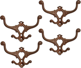 Rejuvenation Set of 4 Large Ornately Cast Brass Victorian Wall Hooks