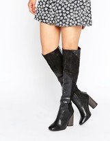 Free People Bright Lights Black Leather Knee Boots