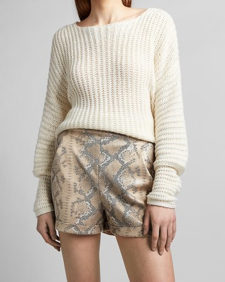 Express High Waisted Vegan Leather Snakeskin Shorts