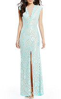 B. Darlin Cap Sleeve Illusion V-Neckline Open-Back Long Lace Dress