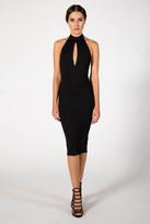 Donna Mizani Keyhole Mock Neck Midi Dress