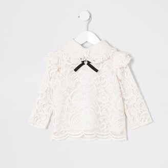 River Island Mini girls Pink lace bow collar top