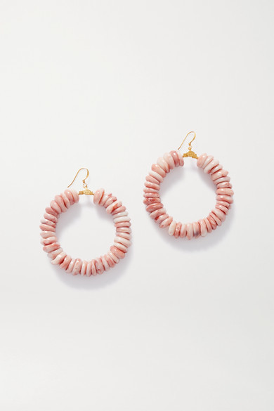 Kenneth Jay Lane Gold-tone And Bead Hoop Earrings - Pink