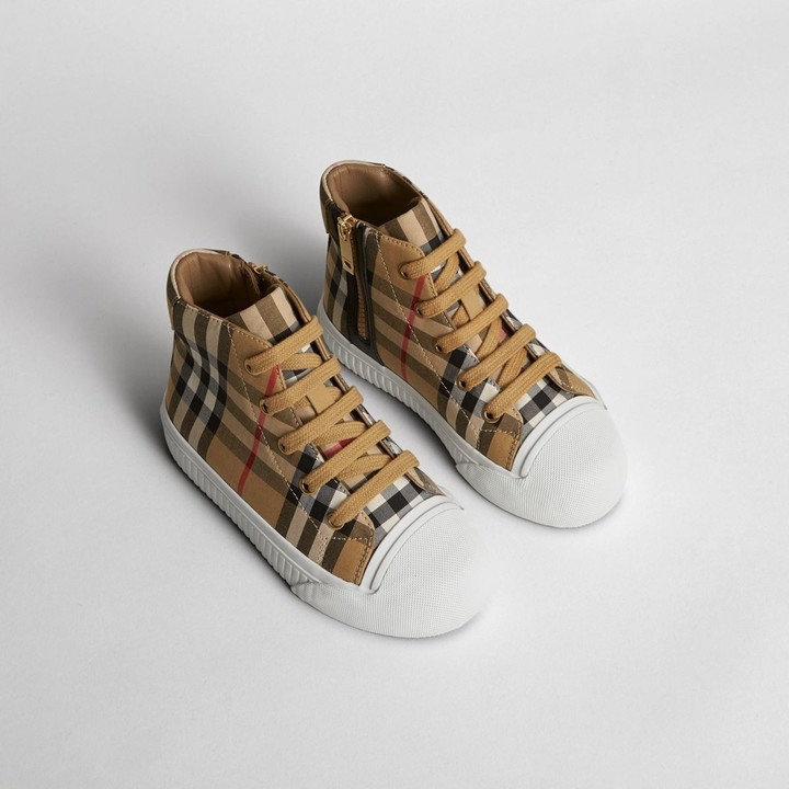 Burberry Vintage Check and Leather High-top Sneakers , Size: 27