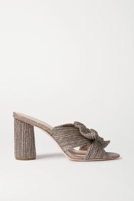 Loeffler Randall Penny Bow-embellished Plisse-lame Mules - Gold