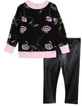Pippa & Julie Embroidered Lace Top & Faux Leather Leggings Set