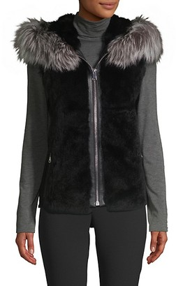 Wolfie Fur Dyed Rabbit and Fox Fur Hooded Vest