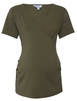 Dorothy Perkins Womens **Maternity Khaki Ruch Wrap Cotton Blend Top