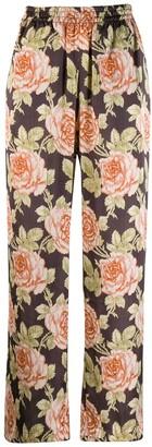 Paco Rabanne Floral Print Plisse Trousers