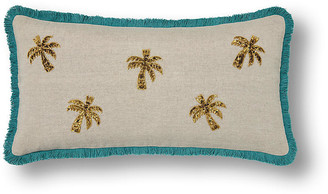 Joanna Buchanan Palm Tree Lumbar 20x10 pillow - Beige