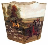 The Well Appointed House English Hunt Scene Decoupage Wastebasket and Optional Tissue Box