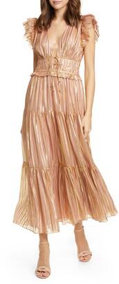 Ulla Johnson Justyne Metallic Stripe Silk Blend Maxi Dress