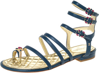 Chanel Blue Leather Embellished Toe Ring Gladiator Flat Sandals Size 36.5