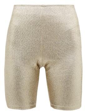 Paco Rabanne Logo Trimmed Metallic Shorts - Womens - Gold