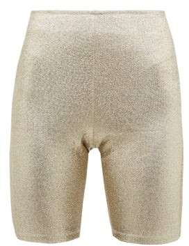 Paco Rabanne Logo-trimmed Metallic Shorts - Womens - Gold