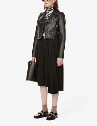 Loewe Cropped V-neck leather biker jacket