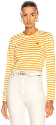 Comme des Garcons Small Red Heart Striped T-Shirt in Yellow | FWRD