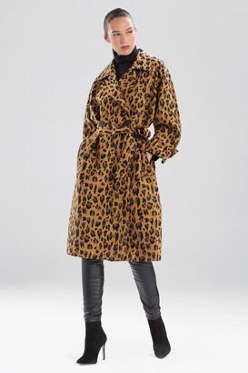 Natori Leopard Jacquard Trench Coat