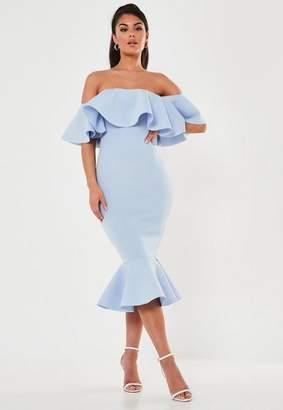 Missguided Blue Bardot Ruffle Scuba Midi Dress