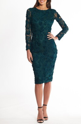 Xscape Evenings Lace Applique Long Sleeve Cocktail Dress