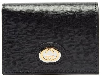 Gucci Marina Gg-logo Plaque Leather Wallet - Womens - Black
