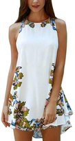 DETALLAN Women Summer Printed Casual Sleeveless Party Cocktail Beach Short Dress (M)