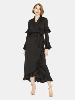 MISA Calithea Asymmetrical Wrap Midi Dress