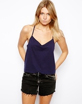 Asos Cropped Cami Top with V Neck - Navy