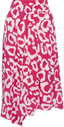 Isabel Marant Cacia Asymmetric Floral-print Silk-blend Crepe De Chine Midi Skirt
