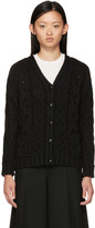 YMC Black Wool Cable Cardigan