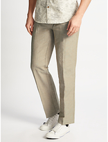 John Lewis Mooring Stripe Linen Cotton Trousers, Natural