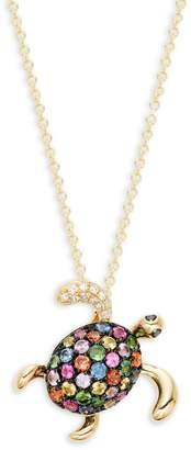 Effy 14K Yellow Gold Multi-Color Sapphire & Diamond Turtle Pendant Necklace