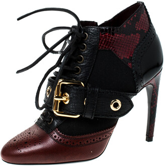 Burberry Black/Brown Python Leather And Fabric Westmarsh Buckle Ankle Boots Size 36