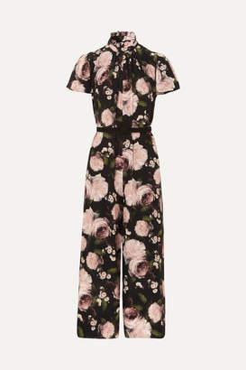 Erdem Ellamay Belted Floral-print Silk Crepe De Chine Jumpsuit - Black