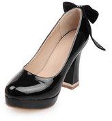 BalaMasa Ladies Glass Diamond Spun Gold Bowknot Square Heels Imitated Leather Pumps-Shoes