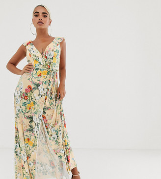 ASOS DESIGN Petite ruffle wrap maxi dress with tie detail in floral print