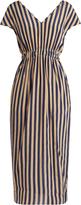 Fendi V-neck striped silk crepe de Chine dress