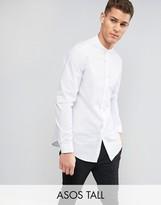 Asos TALL Regular Fit Longline Shirt With Grandad Collar In White