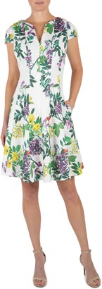 Julia Jordan Floral Cap Sleeve Fit & Flare Dress