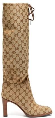 Gucci Gg Supreme Canvas Boots - Womens - Beige Multi