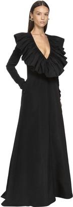Valentino Ruffled Micro Faille Long Dress