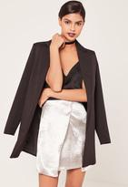 Missguided Satin Asymmetric Wrap Skirt Silver