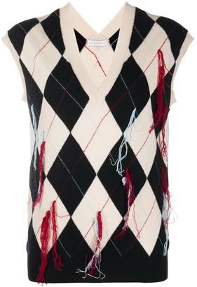 Ballantyne fringe-detail Argyle vest