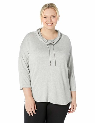 Andrew Marc Women's Plus Size Cowl Neck 3/4th Sleeve Top