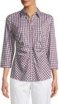 Lafayette 148 New York Leigh 3/4-Sleeve Pleated Gingham Blouse