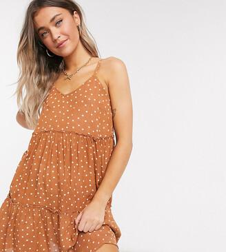 Wednesday's Girl mini cami smock dress in spot print