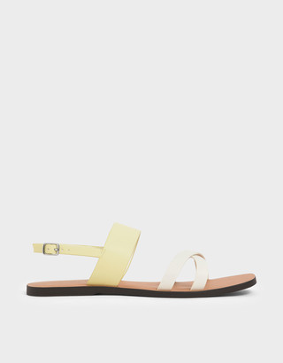 Charles & Keith Two-Tone Thick Strap Flats