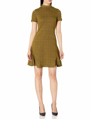 Nanette Lepore Nanette Women's Mock Neck Plaid Dress with Side Panels and Invisible Zipper